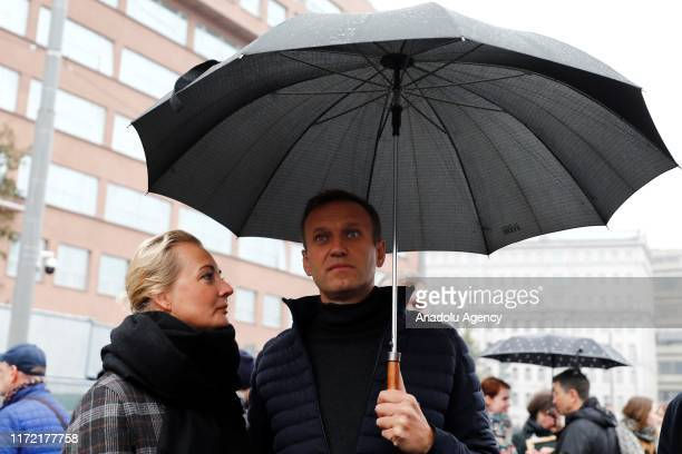 Russian opposition leader Alexei Navalny attends a rally in support of political prisoners in Prospekt Sakharova Street in Moscow, Russia on...