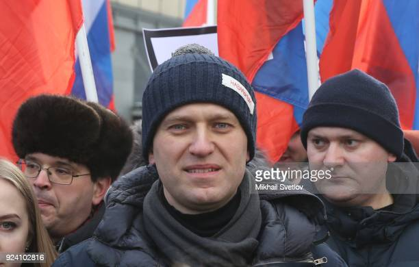 Russian opposition leader Alexei Navalny attends the Nemtsov March a rally in memory of Boris Nemstov former First Deputy Prime Minister writer and...