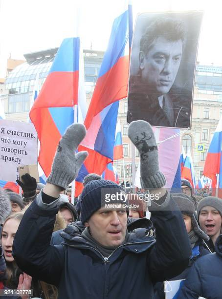 Russian opposition leader Alexei Navalny gestures during the Nemtsov March a rally in memory of Boris Nemstov former First Deputy Prime Minister...