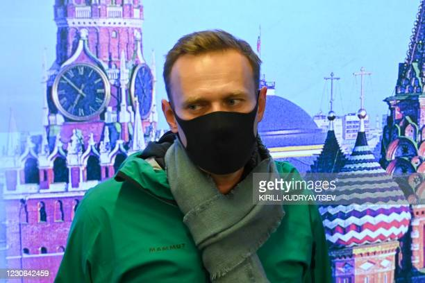 Russian opposition leader Alexei Navalny is seen at Moscow's Sheremetyevo airport upon the arrival from Berlin on January 17, 2021. - Russian police...