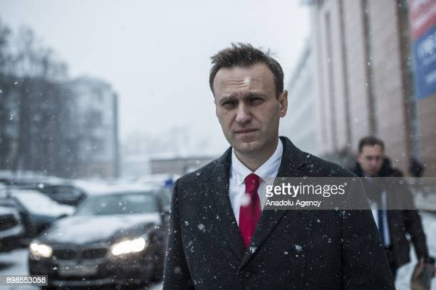 Russian opposition leader Alexei Navalny is seen before his visit to the Russian Central Election Commission in Moscow, Russia, 25 December 2017