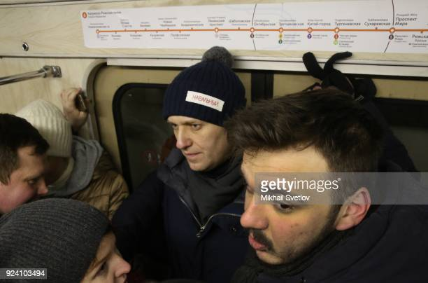 Russian opposition leader Alexei Navalny is seen in Moscow's Metro after the Nemtsov March a rally in memory of Boris Nemstov former First Deputy...