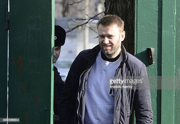 Russian opposition leader Alexei Navalny leaves a detention center in Moscow Russia on March 6 2015 Navalny a leading opposition figure was released...