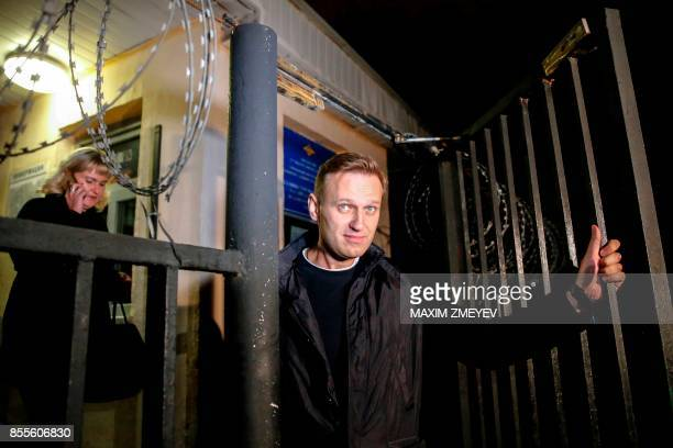 Russian opposition leader Alexei Navalny leaves a police station in Moscow on September 29 2017 Alexei Navalny who was detained earlier the day ahead...