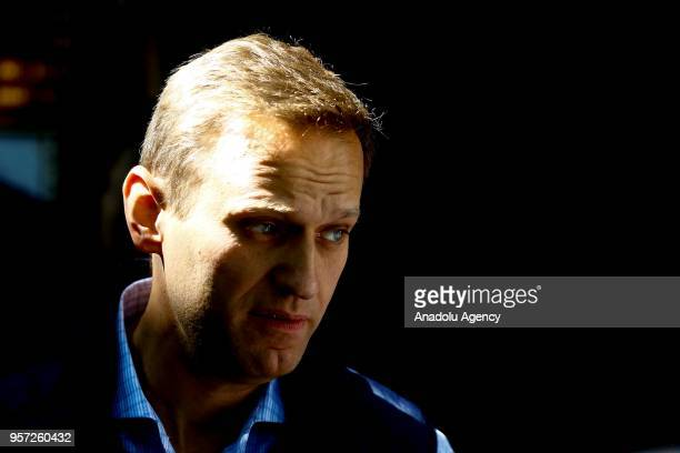 Russian opposition leader Alexei Navalny, leaves from a court hearing in Moscow, Russia on May 11, 2018 .