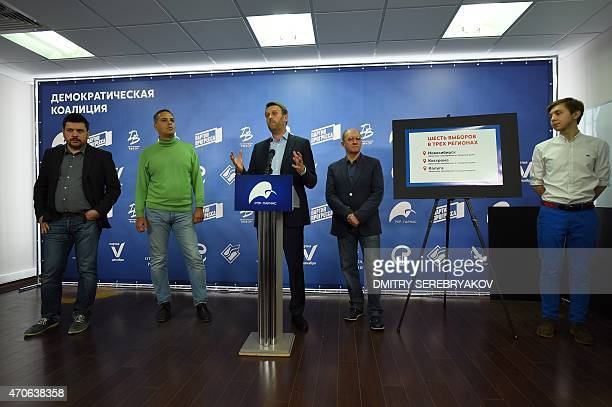 Russian opposition leader Alexei Navalny speaks during a press briefing in Moscow on April 22 2015 The marginalised Russian opposition parties of...