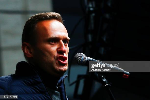Russian opposition leader Alexei Navalny speaks during a rally in support of political prisoners in Prospekt Sakharova Street in Moscow, Russia on...