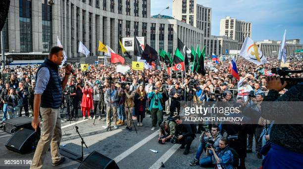 Russian opposition leader Alexei Navalny speaks during an opposition rally in central Moscow on April 30 to demand internet freedom in Russia. -...