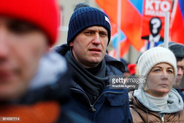 Russian opposition leader Alexei Navalny takes part in a march in Moscow's Strastnoi Boulevard in memory of Russian politician and opposition leader...