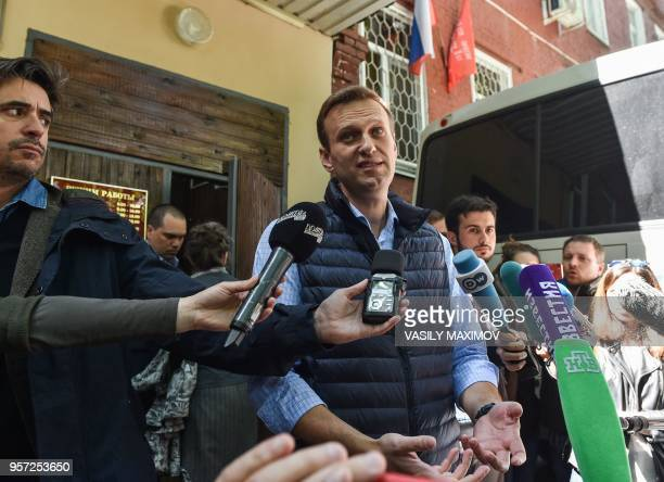 Russian opposition leader Alexei Navalny who was detained during May 5 antiPutin rally speaks to the media outside a court building in Moscow on May...