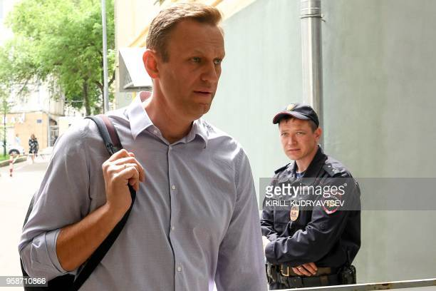 Russian opposition leader Alexei Navalny who was detained during May 5 antiPutin rally arrives at the courthouse in Moscow on May 15 2018 Russian...