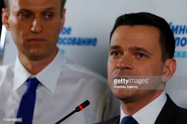 Russian opposition leader Alexei Navalny with his supporters, held a public meeting with independent candidate Russian opposition activist Ilya...