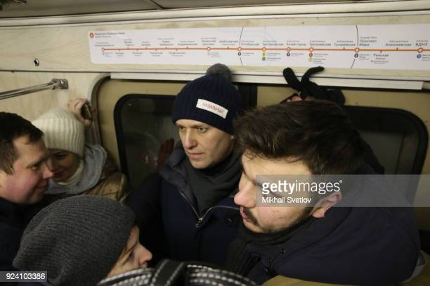 Russian opposition leader Alexei Navalny with his supporters is seen in Moscow's Metro after the Nemtsov March a rally in memory of Boris Nemstov...