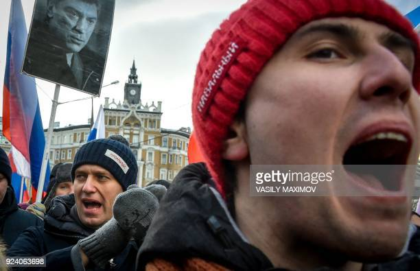 Russian opposition leader Alexey Navalny attends an opposition march in memory of murdered Kremlin critic Boris Nemtsov in central Moscow on February...