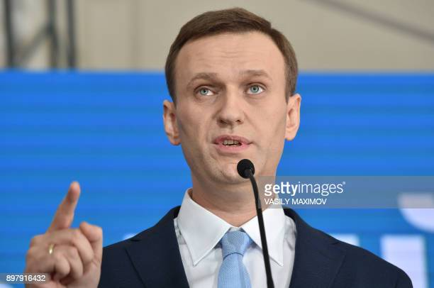 Russian opposition leader Alexey Navalny delivers a speech during a meeting with his supporters in Moscow on December 24 2017 Alexei Navalny seen as...