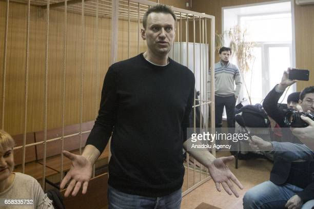 Russian opposition politician Alexei Navalny is seen during the trial of his detention on an unauthorized rally against corruption in the Tverskoy...