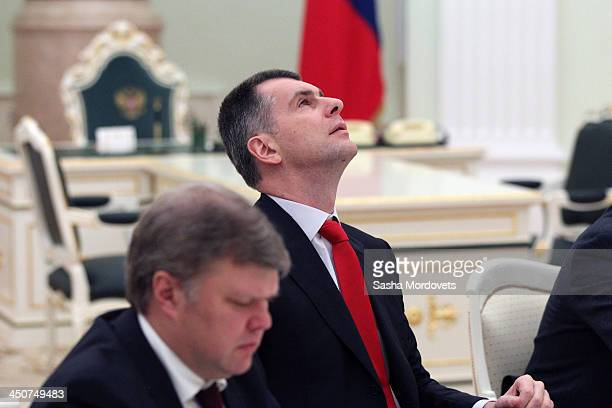 Russian opposition politician and billionaire businessman Mikhail Prokhorov attends the Security Council meeting with Russian President Vladimir...