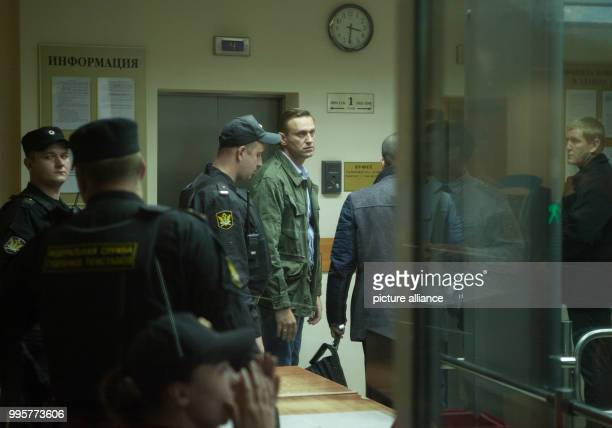 Russian oppositionist Alexei Navalny stands in the court room in Moscow Russia 2 October 2017 Navalny was arrested due to an illegal demonstration in...