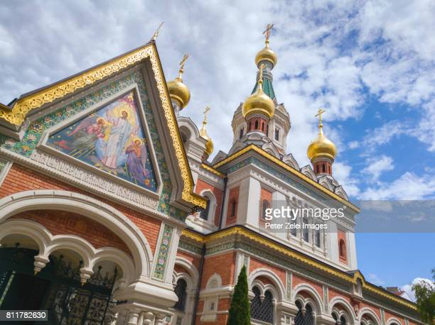 russian orthodox cathedral of st. nicholas in vienna, austria - st. nicholas stock photos and pictures