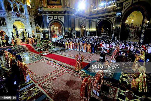 Russian Orthodox Christians attend the Easter service led by Patriarch Kirill of Russia in Christ the Savior Cathedral in Moscow on April 12 2015...