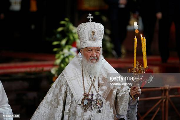 Russian Orthodox Christians attend the Easter service led by Patriarch Kirill of Russia in Christ the Savior Cathedral in Moscow on April 30 2016