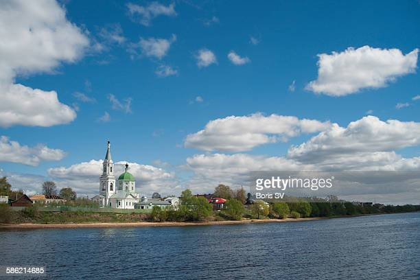 russian orthodox church by volga river - volga stock pictures, royalty-free photos & images
