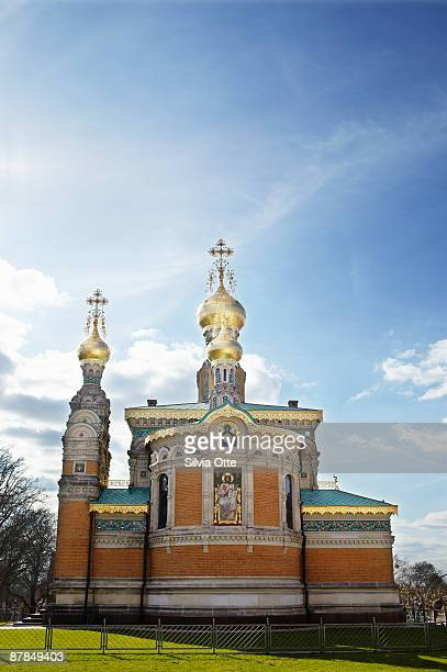 russian orthodox church in darmstadt - darmstadt stock-fotos und bilder