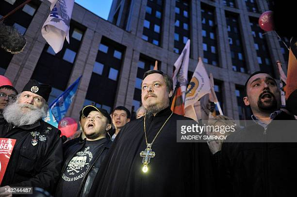 Russian Orthodox Church spokesman Vsevolod Chaplin attends a rally to support the Russian Orthodox church in Moscow on April 21 2012 AFP PHOTO /...