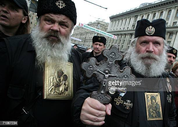 Russian Orthodox demonstartors protest against an unapproved homosexual groups rally in front of City Hall May 27 2006 on moscow Russia Russian...
