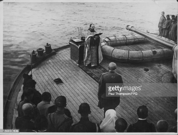 Russian orthodox mass aboard a transport ship during World War One Russia circa 19141918