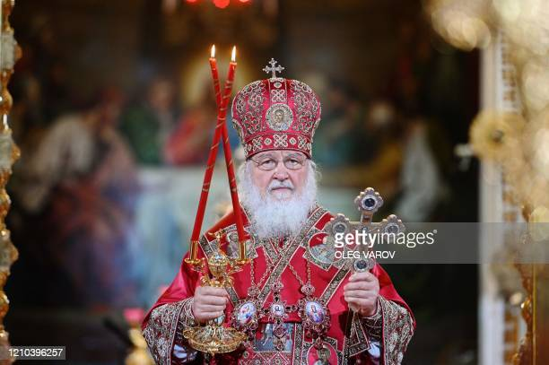 Russian Orthodox Patriarch Kirill celebrate the Easter service in the Christ the Savior Cathedral in Moscow early morning on April 19 during a strict...