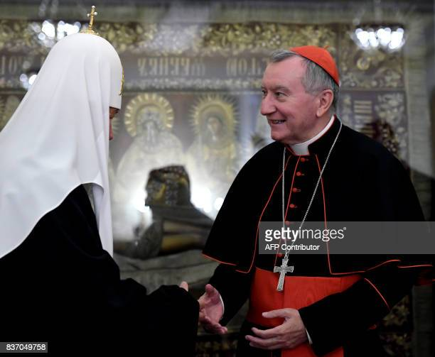 Russian Orthodox Patriarch Kirill meets with Vatican Secretary of State Cardinal Pietro Parolin in Moscow on August 22 2017 / AFP PHOTO / Kirill...