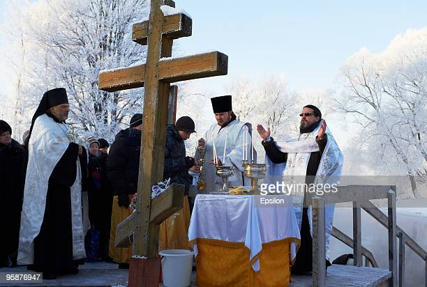 Russian Orthodox priests pray during a traditional Orthodox Epiphany celebration in New Jerusalem Voskresensky Monastery on January 19 2010 in Istra...