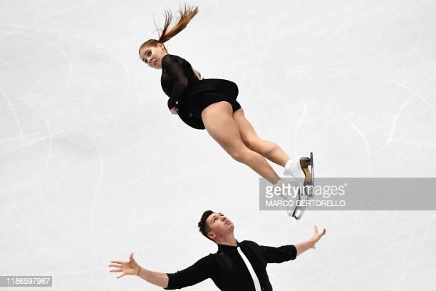 TOPSHOT Russian pair Anastasia Mishina and Aleksandr Galliamov compete during the Pairs short program at the ISU Grand Prix of figure skating Final...