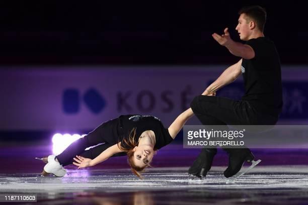 Russian pair Anastasia Mishina and Aleksandr Galliamov perform during the exhibition gala at the ISU Grand Prix of figure skating Final 2019 on...