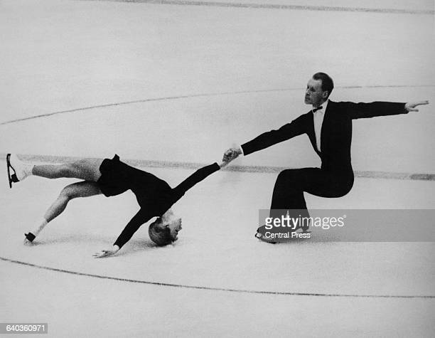 Russian pair skaters Oleg Protopopov and Ludmila Belousova in action, January 1964.