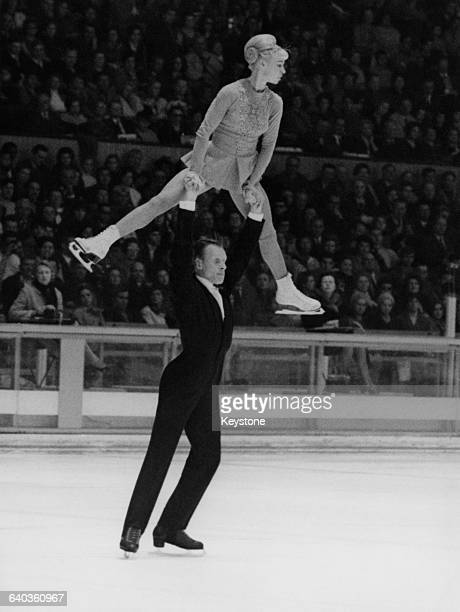 Russian pair skaters Oleg Protopopov and Ludmila Belousova win gold in the pairs event at the Winter Olympics in Grenoble France 15th February 1968