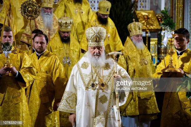 Russian Patriarch Kirill celebrates the Russian Orthodox Christmas service at Christ the Savior Cathedral in Moscow late on January 6 2019 Orthodox...