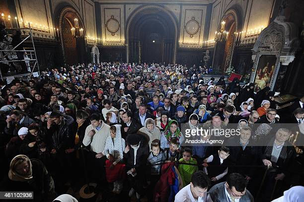 Russian Patriarch Kirill leads a Christmas Eve mass at the Christ the Savior Cathedral in Moscow January 07 2015 Orthodox Christians celebrate...