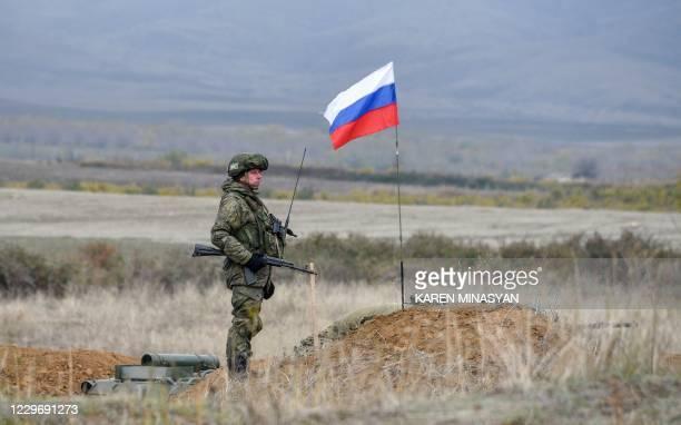 Russian peacekeeper patrols at the check point outside Askeran on November 20, 2020. - Azerbaijan said on November 20, 2020 its troops had entered a...