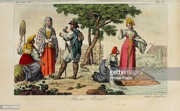 Russian Peasants Illustration from Il costume antico e moderno o storia del governo by Giulio Ferrario 1831 From a private collection