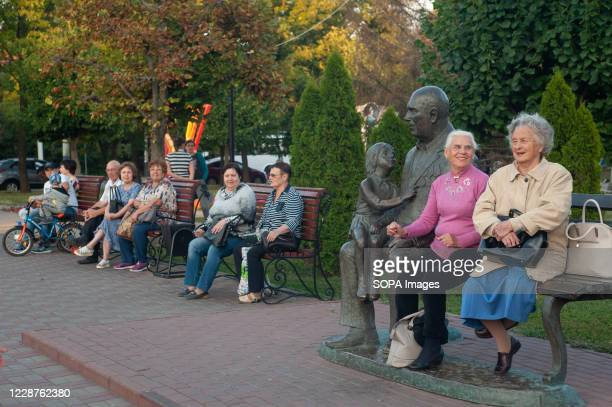 Russian pensioners rest at the Victory Park in the city of Tambov.