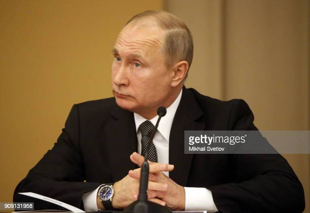 Russian Persident Vladimir Putin speeches during a meeting of the Supreme Court marking its 95th anniversary on January 23rd 2018 in Moscow Russia...