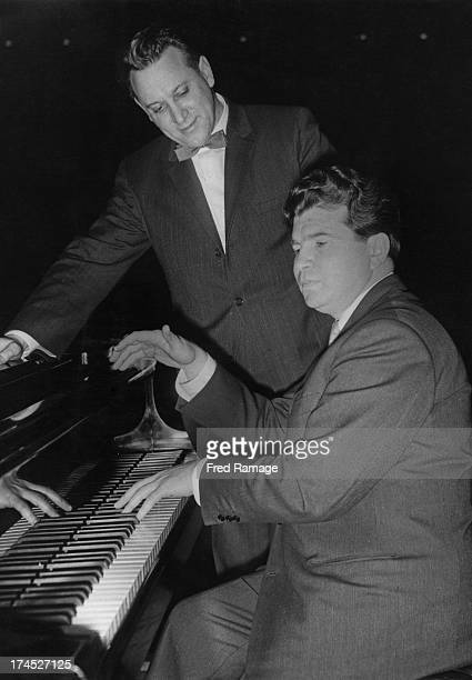 Russian pianist Emil Gilels and Russian conductor Kirill Kondrashin rehearse for the third concert of the Tchaikovsky Festival being held at the...
