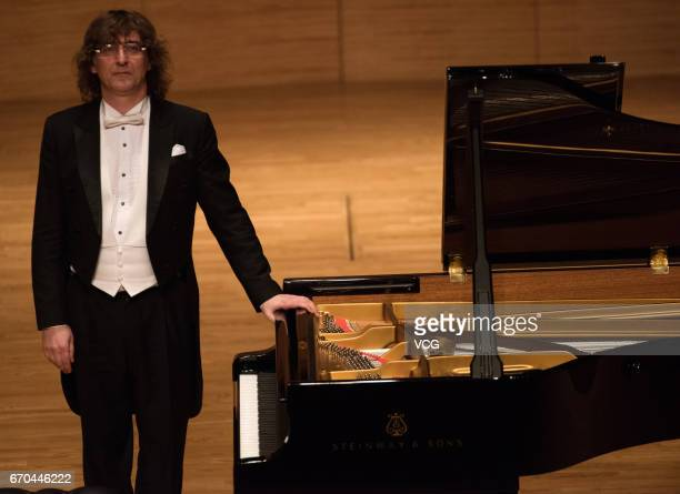 Russian pianist Sergey Tarasov attends his solo concert at Shengjing Grand Theatre on April 19 2017 in Shenyang Liaoning Province of China