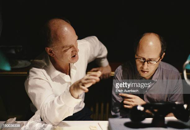 Russian pianist Sviatoslav Richter listening to a Beethoven playback with cellist and conductor Mstislav Rostropovich 24th July 1961