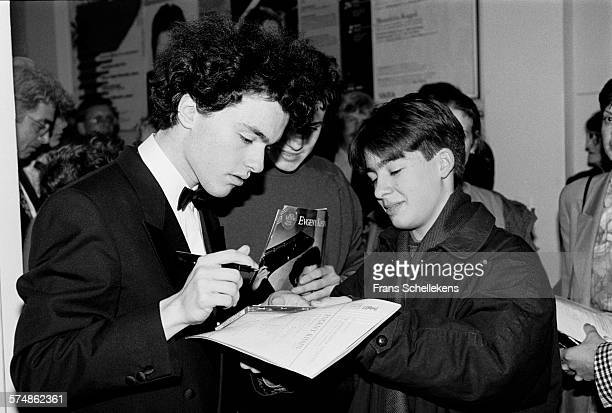 Russian piano player Evgeny Kissin after his concert at the Concertgebouw on January 13th 1991 in Amsterdam, the Netherlands.