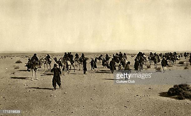 Russian pilgrims in the desert on the way to Sinai to Saint Katherine Egypt the early 1920s