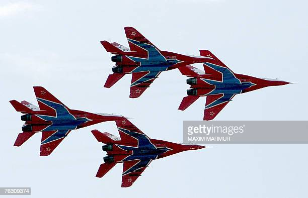 """Russian piloting group Swivts demostrate their skill at the International Aviation and Space salon """"MAKS-2007"""" in Zhukovsky airfield, outside Moscow,..."""
