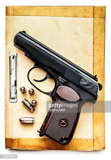 russian pistol over leaflet